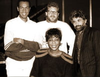 "John Clayton Jr. Jeff Hamilton and Monty Alexander at the recording date for ""The Music Made Me Sing It"" album - Holland, 1986"