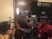 "An ""after performance"" hug from my musical brother and bassist extraordinaire, John Clayton"